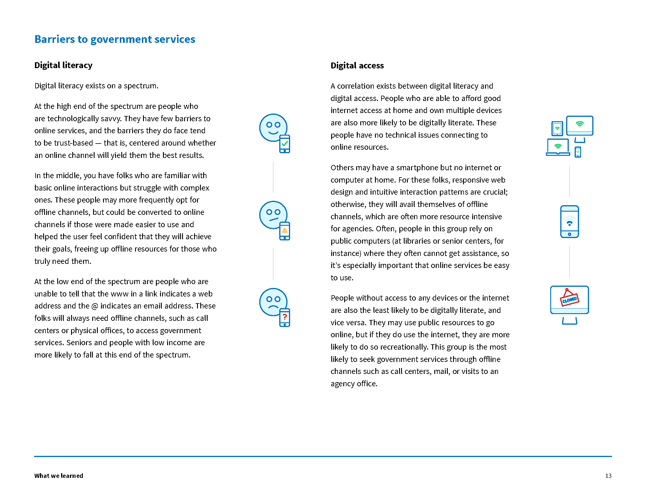 A page from our report describing barriers digital government services